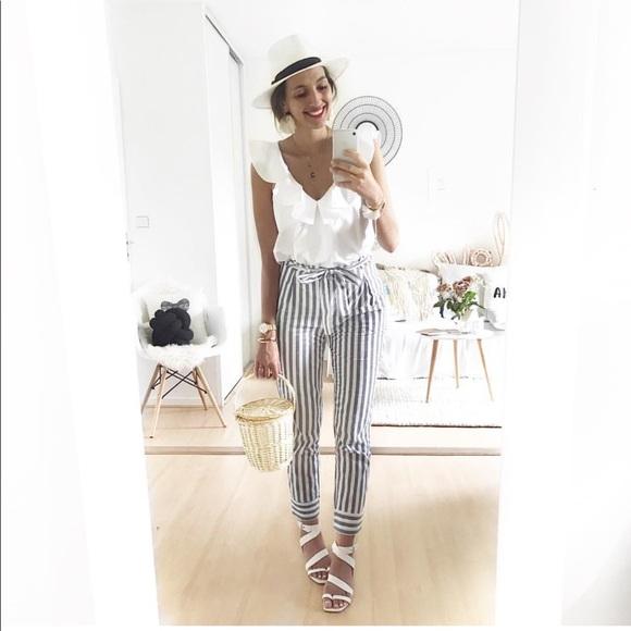 c1fa35a336a72 Zara Pants   Cotton Stripe Paper Bag Waist Trousers   Poshmark